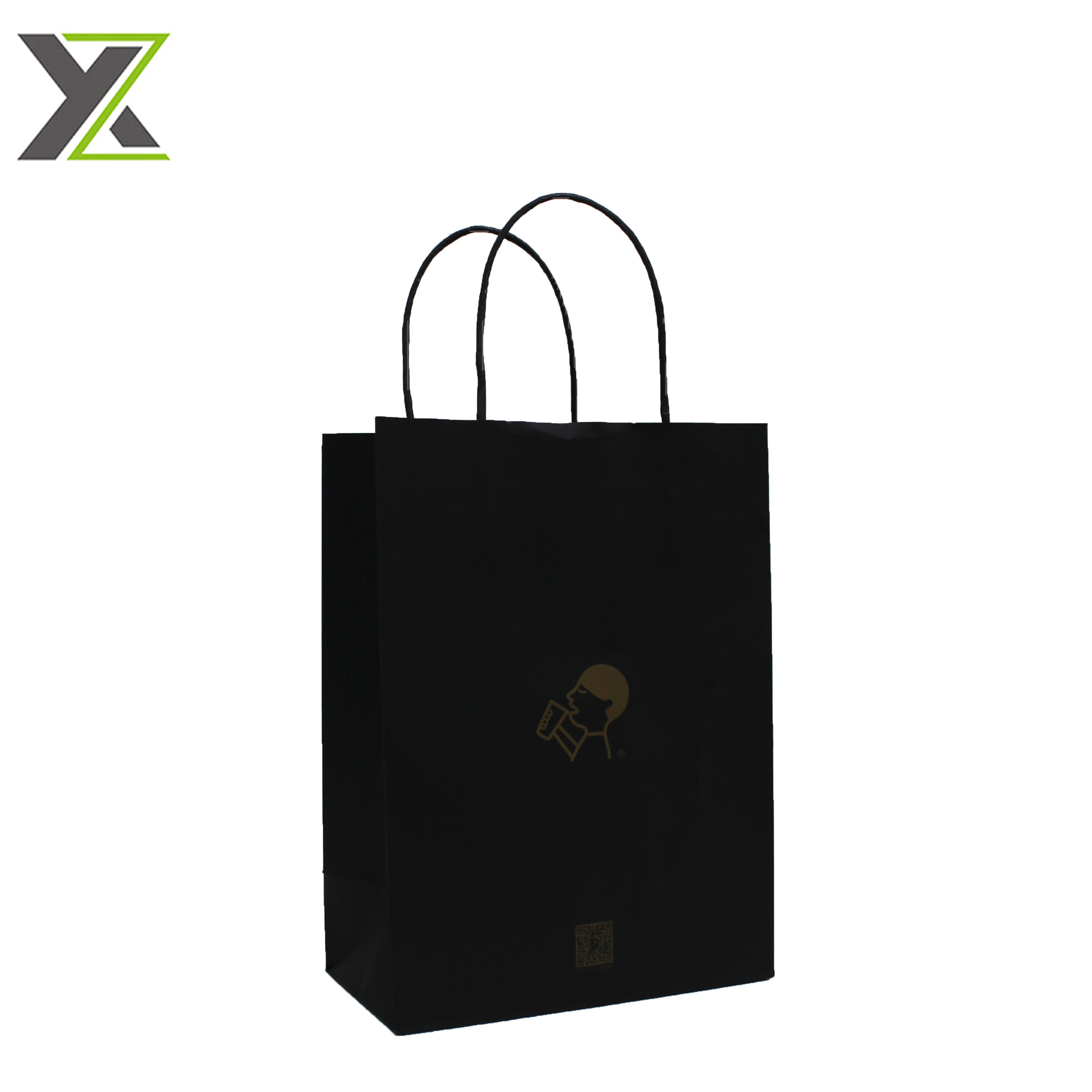 ECO custom logo matte black kraft paper bags for takeaway mik tea and coffee