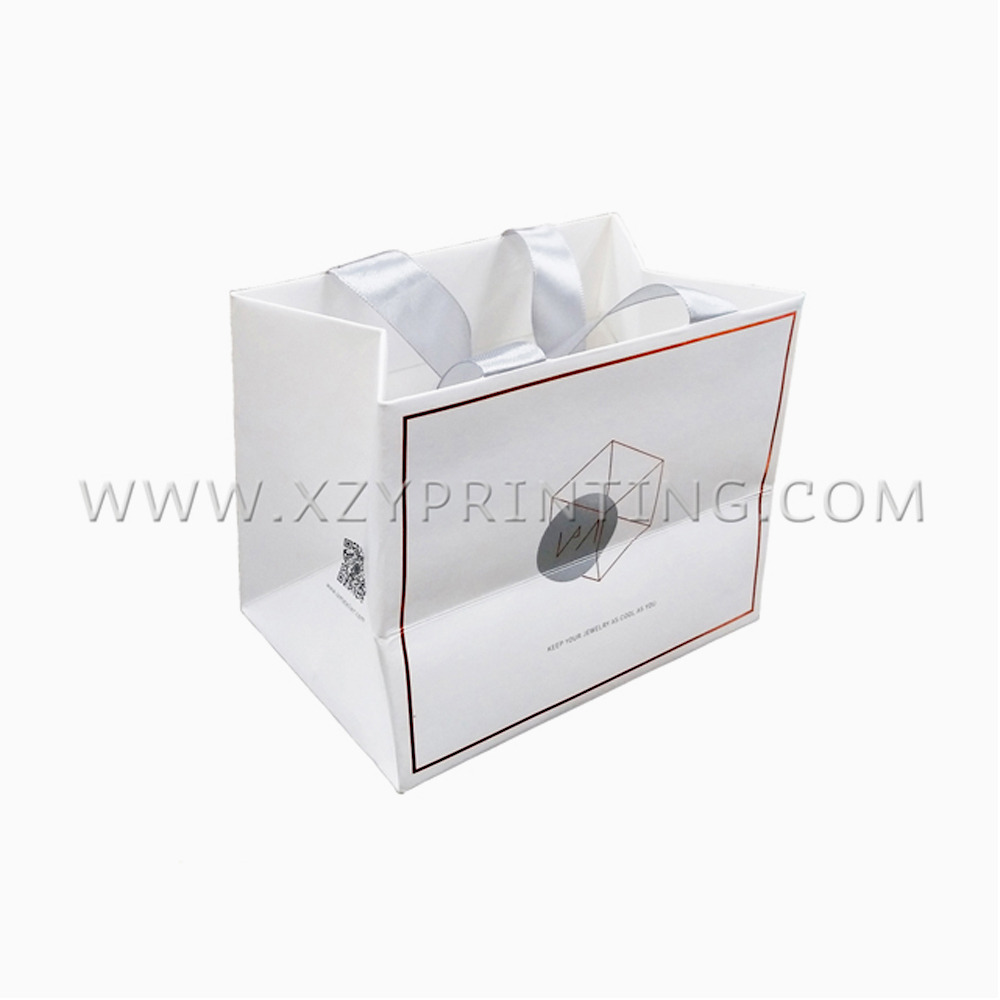 Custom Fashion products jewelry white paper bag with wide ribbon and logo print