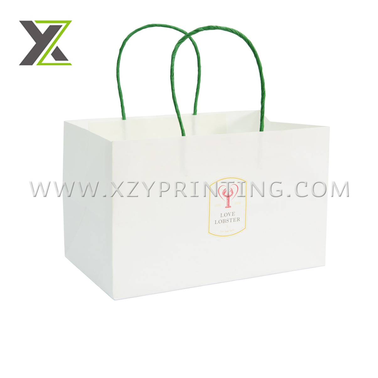 Custom logo white and green color handle paper bags printing