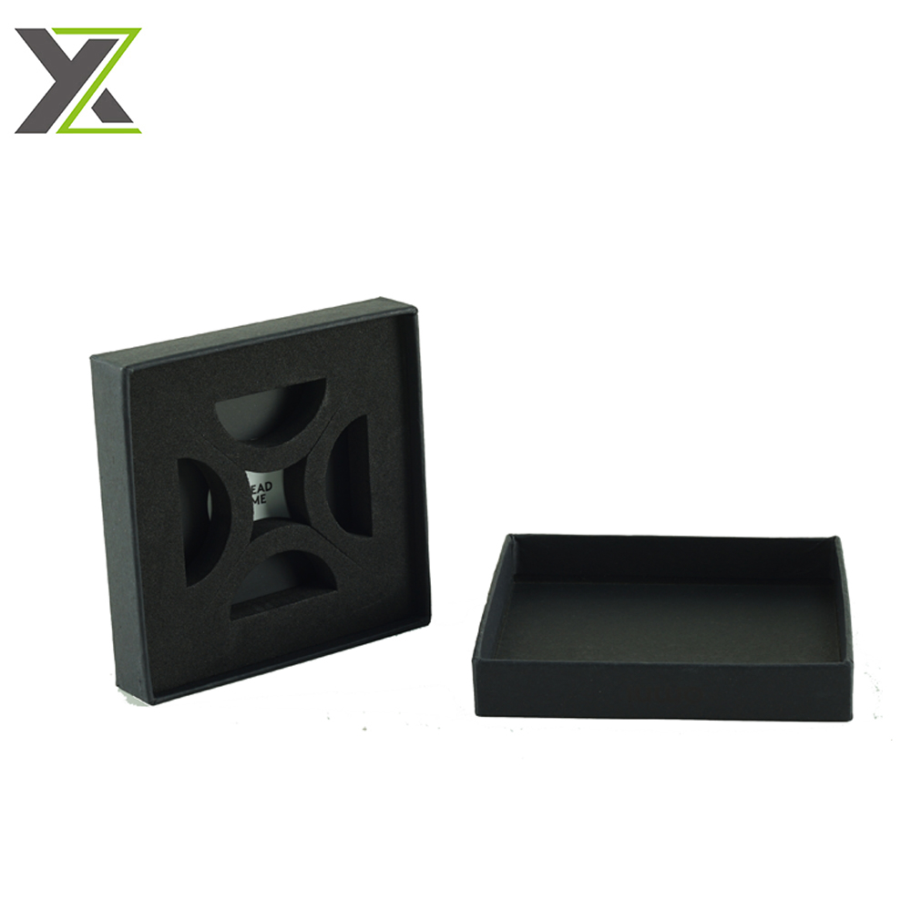 High quality Foil logo black cardboard boxes with foam insert for Electronic Payment Ring