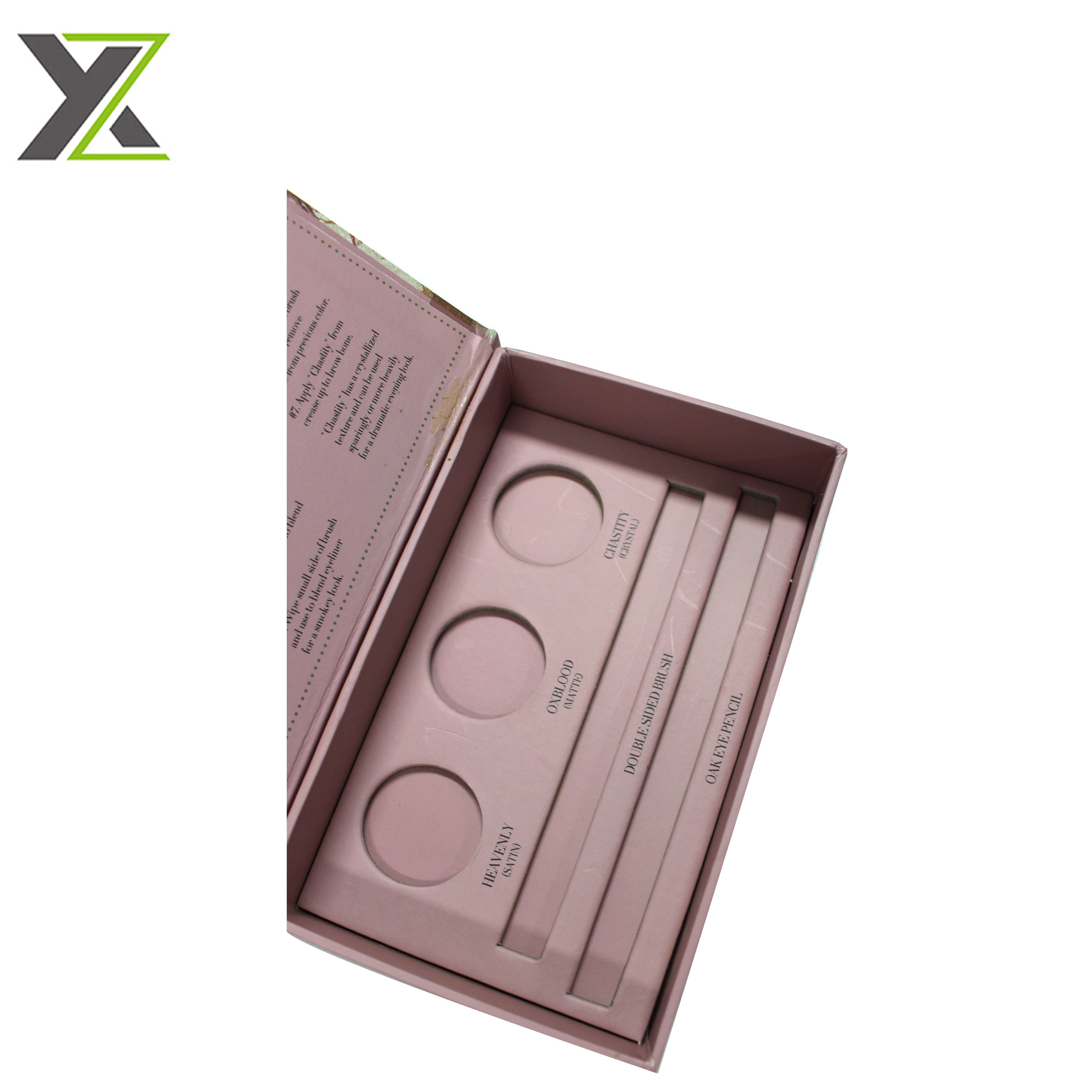 Customized cosmetic eye shadow pencil set cardboard boxes with insert