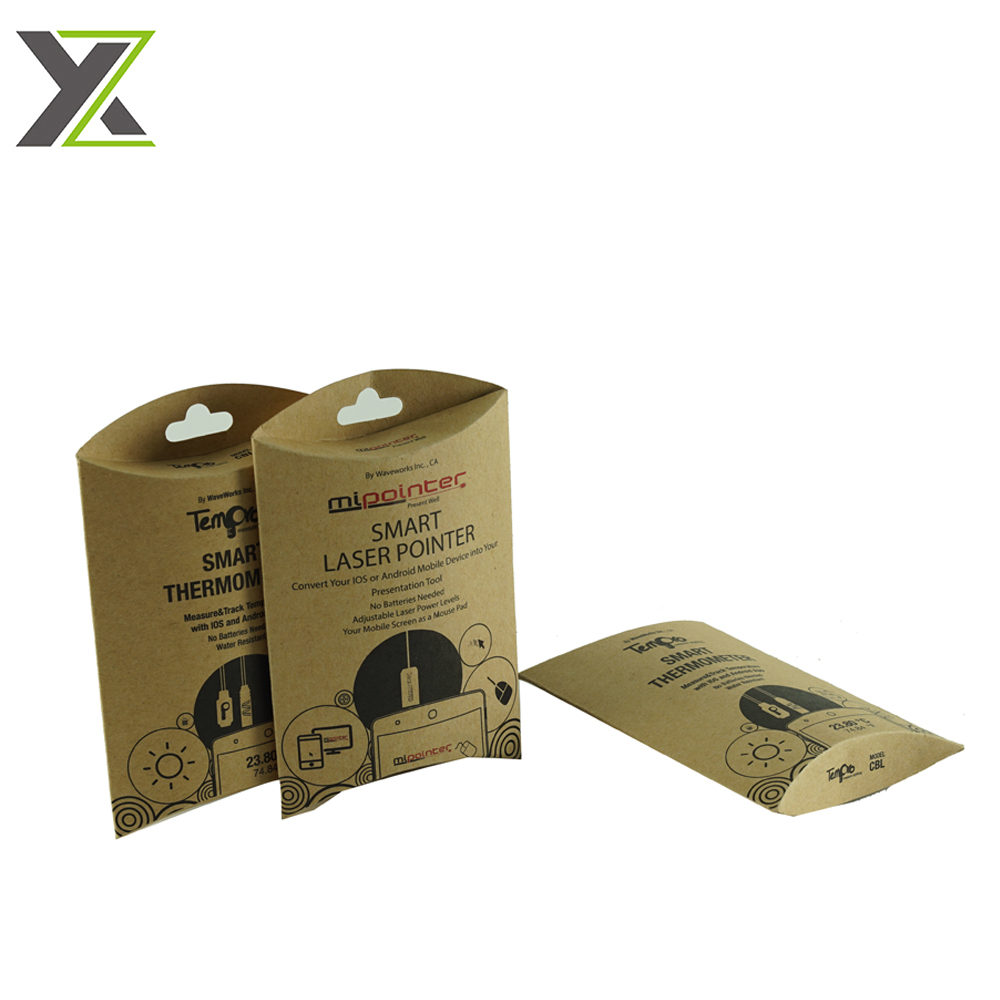 Custom eco kraft paper smart laser pointer packing pillow boxes